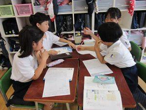 東星学園 校長 大矢正則 清瀬 私立 小学校 夏期学校の新聞作り(4)