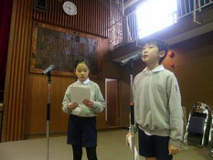 東星学園 校長・大矢正則 清瀬 私立 小学校 「6年生を送る会」(2)