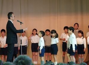 東星学園 校長・大矢正則 清瀬 私立 小学校 学級委員認証式(2)