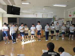 東星学園 校長 大矢正則 カトリック ミッション 男女 5年生 聖劇練習(1)