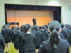 東星学園 校長・大矢正則 カトリック ミッション 男女 始業日(3)