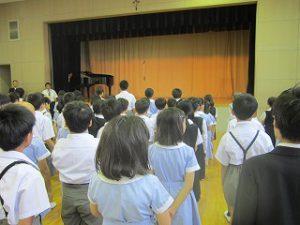 東星学園 校長 大矢正則 カトリック ミッション 男女 2019年 後期始業式(1)
