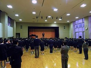 東星学園 校長 大矢正則 カトリック ミッション 男女 始業の集い(1)