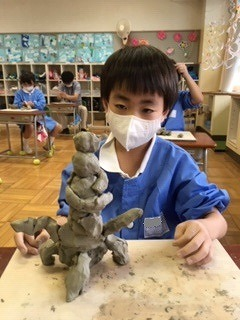 清瀬 私立 小学校 東星学園 大矢正則校長 1,2年生 粘土を使って(2)