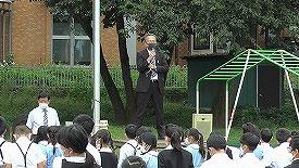 東星学園 校長大矢正則 後期始業式 後期児童会役員 認証式(1)