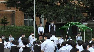 東星学園 校長大矢正則 後期始業式 後期児童会役員 認証式(3)